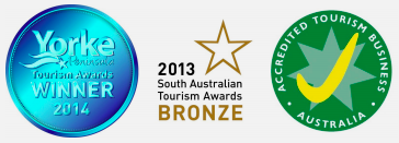 Accredited Tourism business Australia - Yorke Peninsula Tourism awards winner 2014 - Bronze 2013 South Australia Tourism Awards